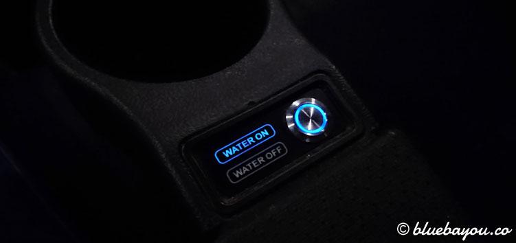 Am 4DX-Kinositz lässt sich die Wasserfunktion per Knopfdruck abschalten.
