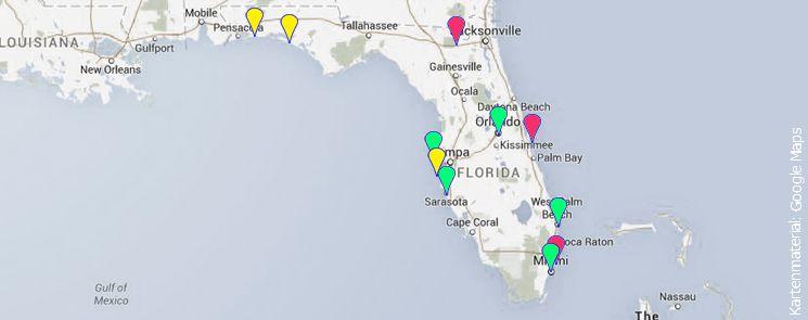 Florida Landkarte mit markierten Insidertipps