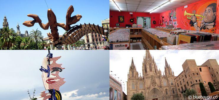 Erste Impressionen aus Barcelona: Küstengegend, Schallplattenladen, Skulptur und Kathedrale.