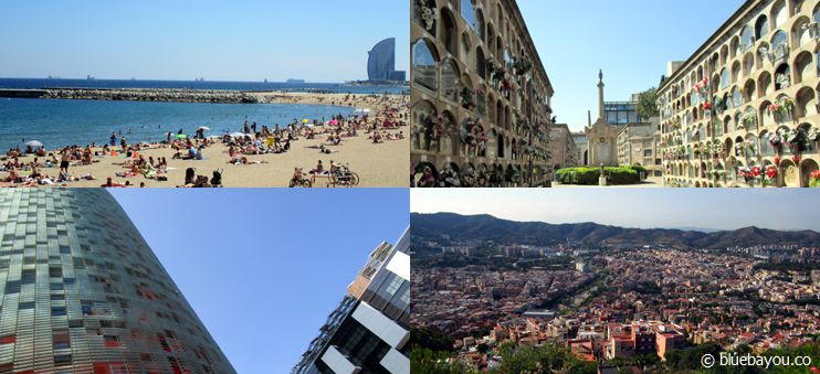Erste Impressionen aus Barcelona: Strand, Friedhof, Architektur und Fernblick.