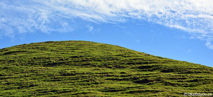 Ein Hügel vor blauem Himmel in Neuseeland.
