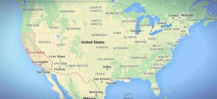 Der Staat California liegt an der südlichen Westküste der USA im Süden, also direkt an den Pazifik und Mexiko grenzend.