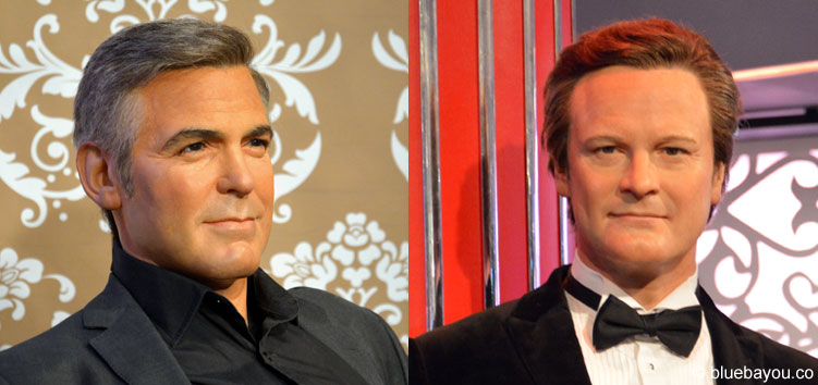 George Clooney und Colin Firth bei Madame Tussauds in London.