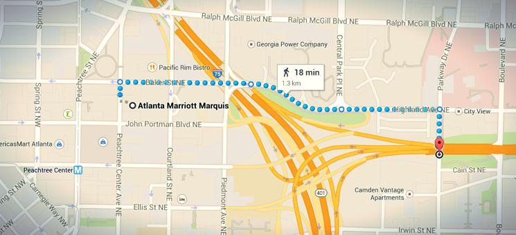 """Die Laufstrecke vom Atlanta Marriott Marquis zum """"The Walking Dead""""-Drehort aus Staffel 1."""