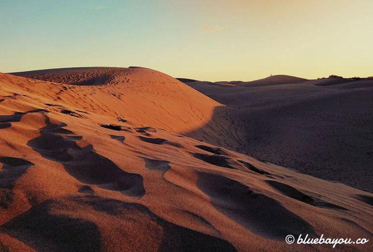 Die Dünen von Maspalomas auf Gran Canaria im Sonnenuntergang.