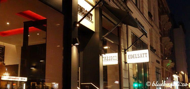 Das Restaurant Edelsatt in Hamburg Winterhude von außen.