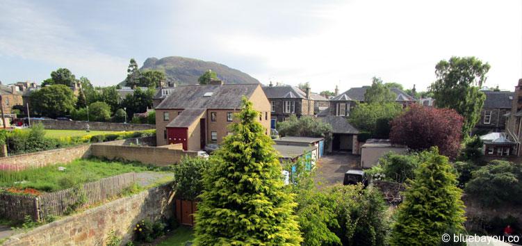 Ausblick aus meinem Hotel in Edinburgh, Schottland.