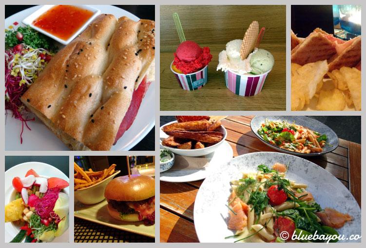 Fotoparade Collage Essen: Mix des ersten Reisehalbjahres 2018 mit Pasta, Spargel-Eis, Salat und mehr.