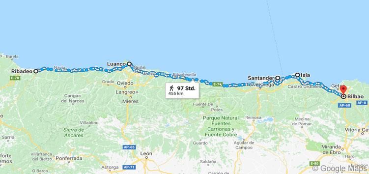 Meine grobe Strecke auf dem Küstenweg in Spanien von Ribadeo nach Bilbao.