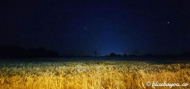 Mein privater Megamarsch nachts entlang der Felder.