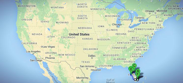 """Die USA-Route """"Strände und Städte Floridas"""" im Überblick."""