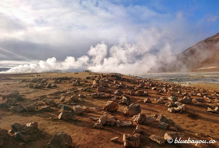 Fotoparade Heiß: Dampfende Erde auf Island.