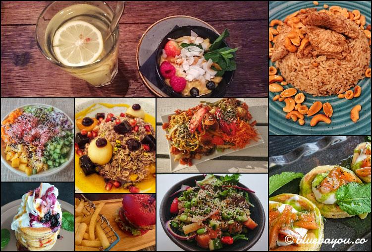 Fotoparade Collage Essen: So gesund habe ich 2019 in Berlin, Kiew, Rotterdam, Budapest, Dortmund, Vilnius, Baku und Köln gegessen.
