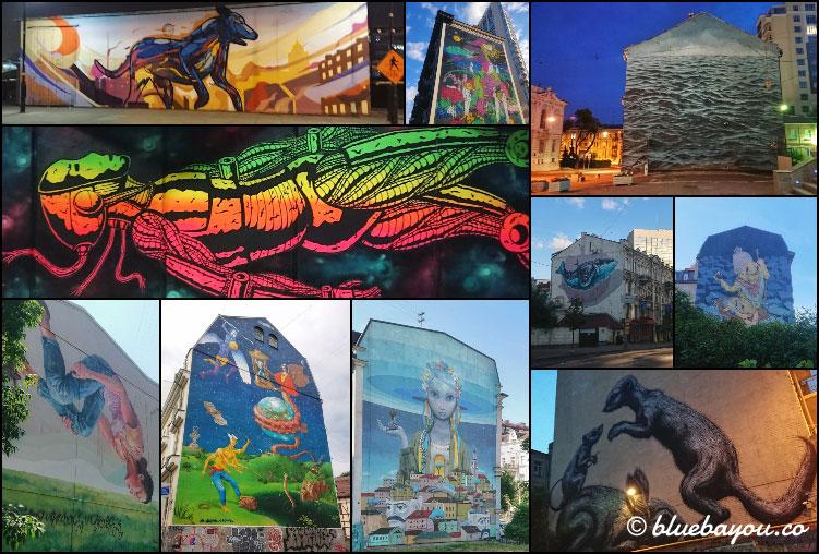 Fotoparade Collage Street Art Fassaden: Diese Kunstwerke fand ich in Dublin, Kiew und Baku.
