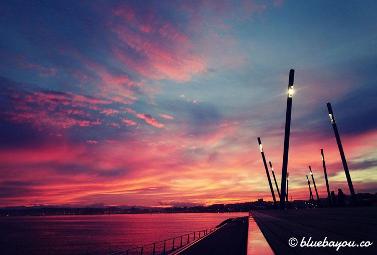 Sonnenuntergang am Abend in Santander.