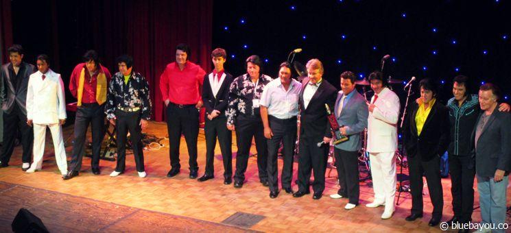 Die Teilnehmer des Gospel Contests des Georgia Elvis Festivals 2015 mit Gewinner Bruce Stewart.