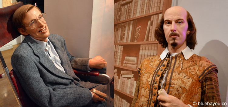 Stephen Hawking und William Shakespeare bei Madame Tussauds in London.