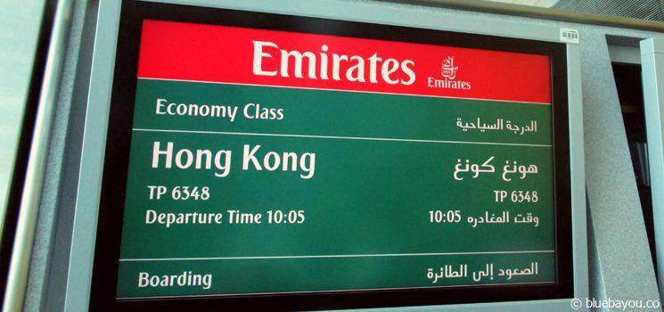 Fluganzeige des Fluges nach Hongkong - Around the World Ticket 2014.
