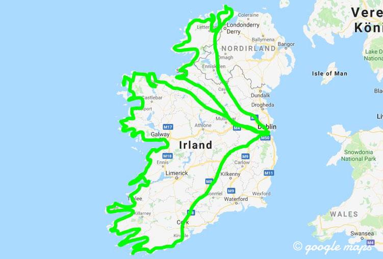 Die Route meines Roadtrips entlang des Wild Atlantic Way in Irland.