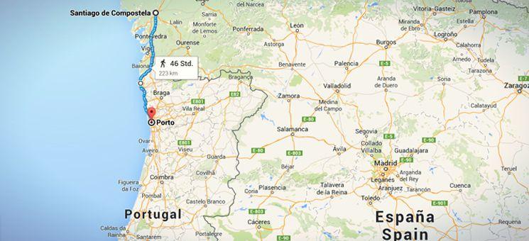 Strecke Jakobsweg: Von Spanien nach Portugal.