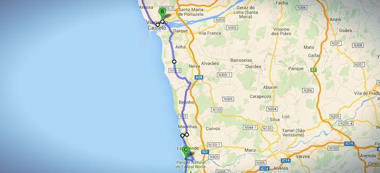 Die Strecke von Viano do Castelo nach Fão auf meinem nicht-traditionellen Jakobswegs in Portugal.