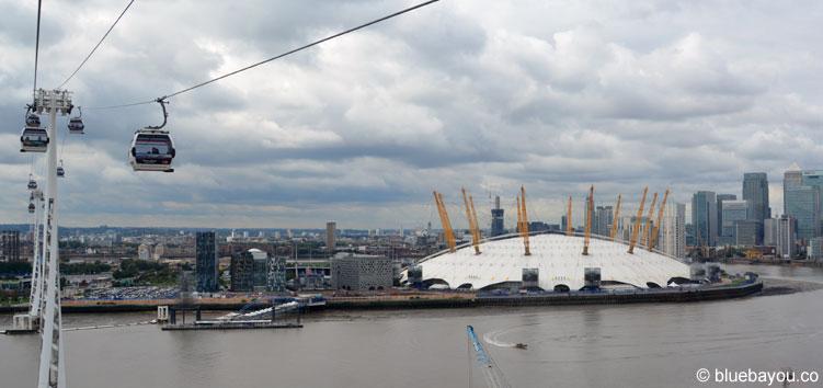 Die Emirates Air Line in London ist nur fünf Minuten von der o2 Arena entfernt.