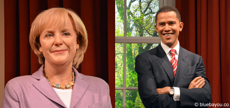 Angela Merkel und Barack Obama bei Madame Tussauds in London.