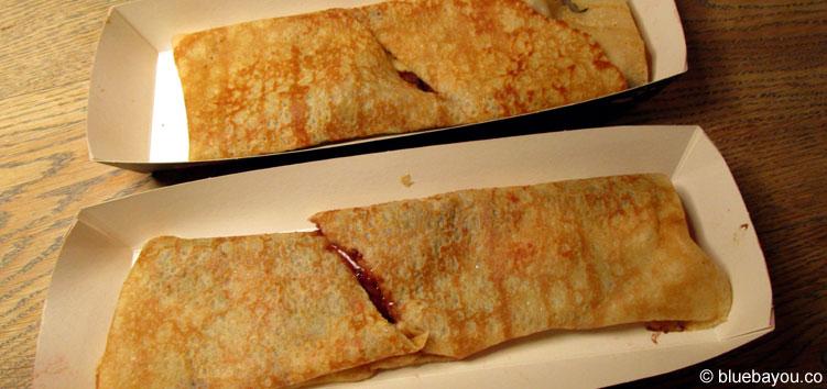 Crème de la Crêpe in London: Die Crêpes werden mittig durchgeschnitten.