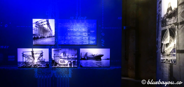 Ausstellungsbereich zu Maschinen, menschlicher Selbstüberschätzung und der Titanic im Panometer Leipzig.