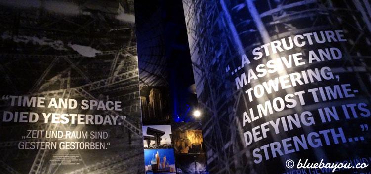 Ausstellungsbereich zum Thema Maschinen vor dem Zugang zum 360°-Panorama der Titanic im Panometer Leipzig.