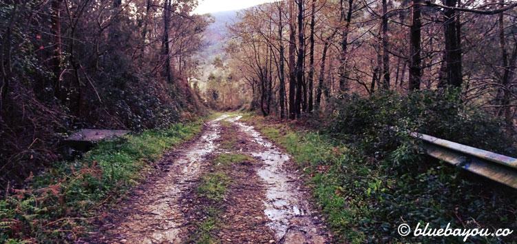 Regen und Schlamm auf dem Jakobsweg in Spanien.