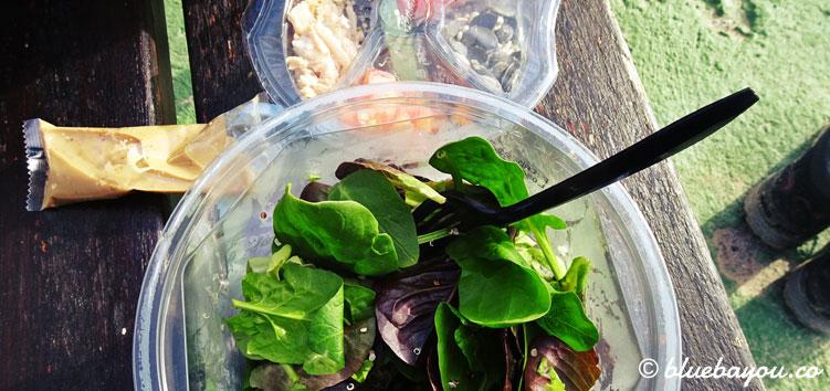 Pause mit einem Salat auf dem Jakobsweg.
