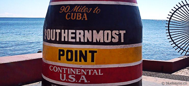 Der Southernmost Point der kontinentalen USA in Key West:: 90 Meilen bis Kuba!