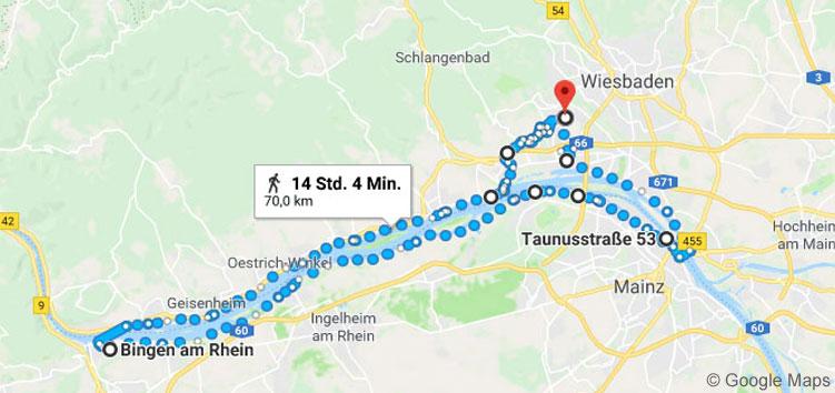 Meine ungefähre Route: 72,36 km von Wiesbaden über Rüdesheim, Bingen, Mainz und zurück.