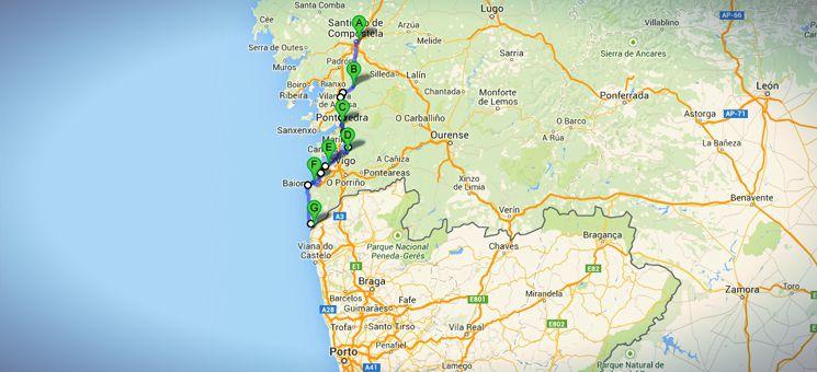 Die Gesamtstrecke meines nicht-traditionellen Jakobsweges in Spanien - auf dem Weg nach Porto.