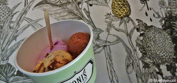 TONIS handmade organic icecream: Jogurt-Heidelbeere, Nougat-Praline und Schoko-Birne in Leipzig-Schleußig.