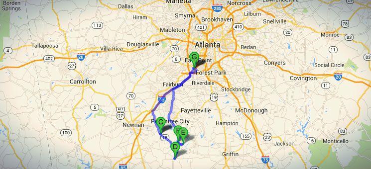 Die Route der The Walking Dead Tour südlich von Atlanta.