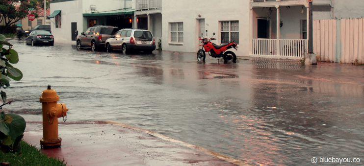 Eine geflutete Straße nach einem fünfminütigen Regenschauer in Miami Beach.