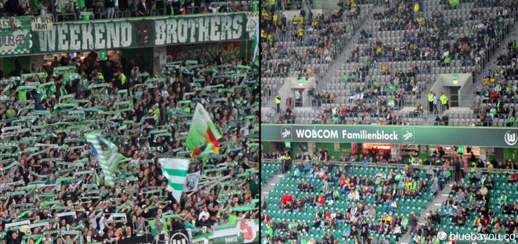 Die Fans des VfL Wolfsburg: zu Beginn des Spiels glänzten sie durch Begeisterung, am Ende durch Abwesenheit.