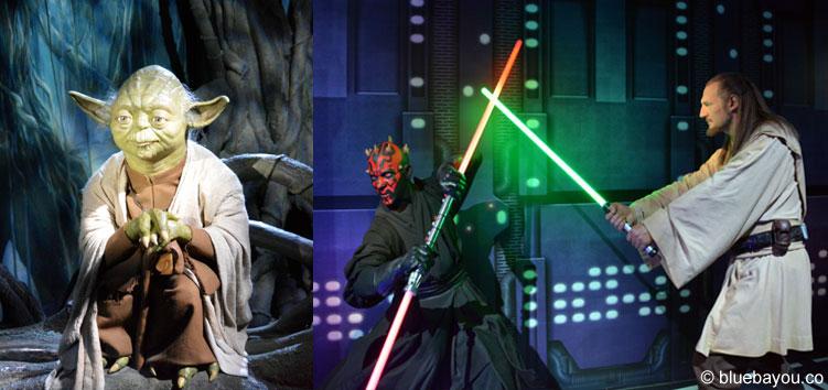 Yoda, Darth Maul und Liam Neeson als Qui-Gon Jinn bei Madame Tussauds in London.